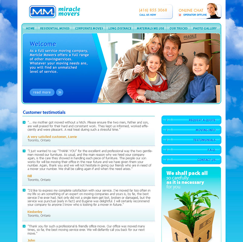 Miracle Movers website